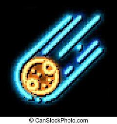Falling Meteorite Sphere neon glow icon illustration