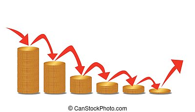 Falling Money Steps - Piles of coins decreasing in size with...
