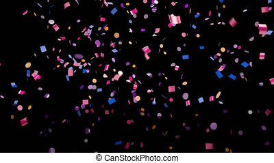 Falling multi-colored confetti with alpha channel