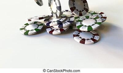 Falling multicolor casino chips or tokens - Falling casino...