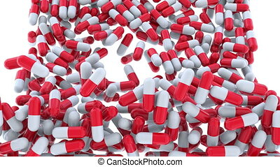 Falling multiple drug capsules or pills, alpha matte for...