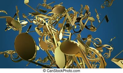 Falling musical notes in golden