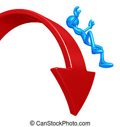 Falling Off Downward Market Arrow - 3D Concept And ...
