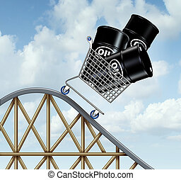 Falling oil prices and plunging fuel costs as a group of oil barrels or steel drum containers in a shopping cart going down on a roller coaster as a business concept of low energy pricing and the unstable nature of commodities.
