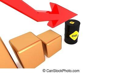 Falling oil prices, oil becomes cheaper. Oil barrel 44. -...