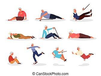 Falling old people set. Retired men and women falling down.
