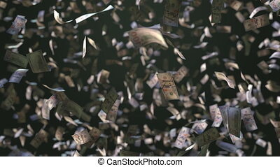 Falling one hundred dollar bills. 3D animation - Falling one...