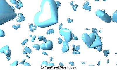 Falling pale blue heart objects in white background. Cute ...