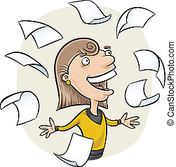 Falling Paper - A cartoon woman surrounded by falling paper.