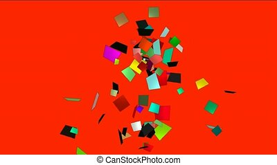 falling paper card debris,explosion