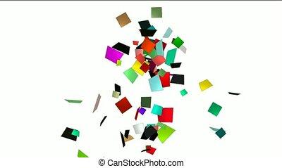 falling paper card scrap,explosion