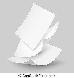 Blank paper sheets falling down. Illustration on grey background.