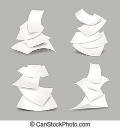 Falling paper sheets vector illustration. Set of paper blank...