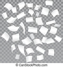 Falling paper sheets with curved corners. Paperwork. Vector