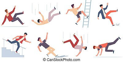 Falling people. Danger caution wet floor, falling down stairs, slipping, stumbling and downfall injured man set, beware accidents safety vector flat cartoon isolated unbalanced characters collection