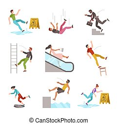 Falling people. Fall down stairs, slipping wet staircase, stumbling man injured, dangerous dropping from chair, accident vector flat cartoon characters