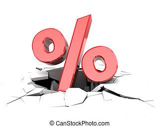 falling percent - abstract 3d illustration of percent symbol...