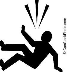 Falling person silhouette icon