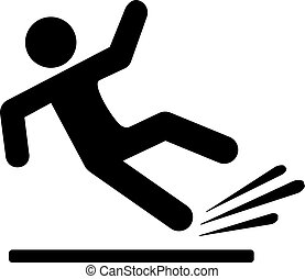 Falling person silhouette pictogram isolated on white...
