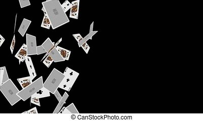 Falling playing cards seamless pattern isolated on black Loop background Animation