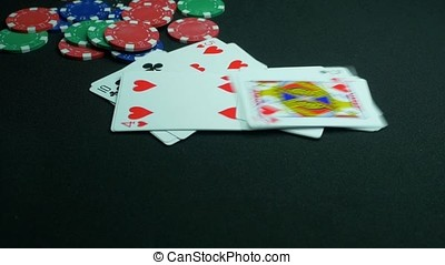 Falling playing or poker cards. Close up of falling playing cards poker game on black background with clipping path. Slow motion