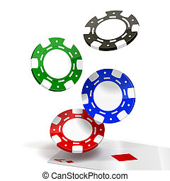 Falling Poker Chips isolated on white. Vector Illustration....