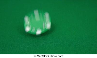 Falling poker chips. Slow motion effect