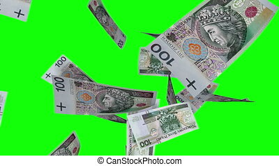 Falling Polish Zlotys (Loop) - Falling 100 PLN bills....