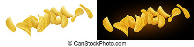 Falling potato chips isolated on white and black backgrounds