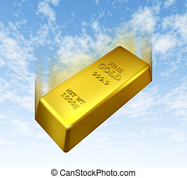 Falling price of gold represented by a golden yellow metal...