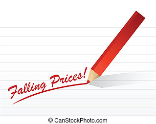 falling prices written on a white piece paper