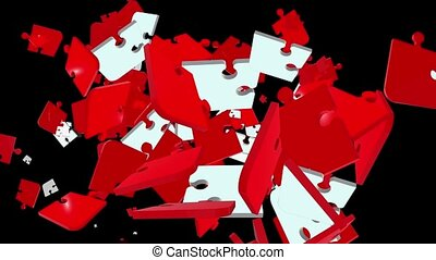 Falling puzzle pieces in red