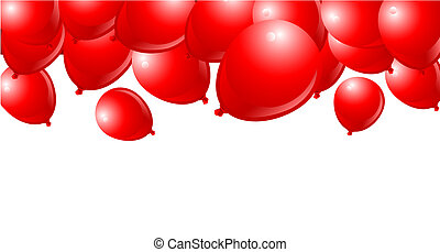 Falling Red Balloons on White Background with place for...