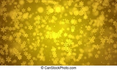 Falling Red confetti, snowflakes and bokeh lights on the Golden loop Christmas background.
