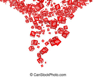 Falling red cubes with percent isolated on white background