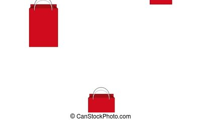 falling red shopping bag e-commerce animation hd