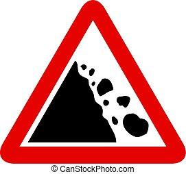 falling rocks sign - Falling rocks warning sign isolated on...