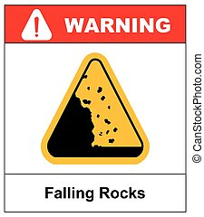 Falling rocks warning sign Vector isymbol