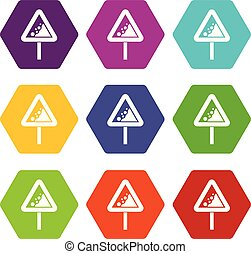 Falling rocks warning traffic sign icon set color hexahedron