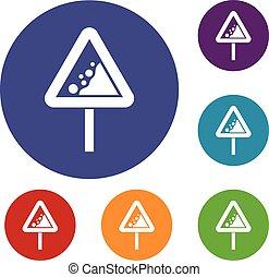 Falling rocks warning traffic sign icons set