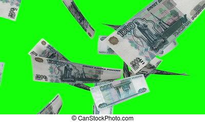 Falling Rubles Loop on Greenscreen - Falling 1000 Russian...