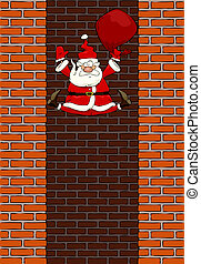Falling Santa Claus in the chimney vector illustration