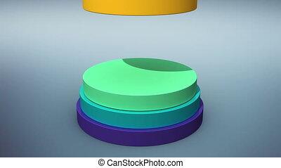 Falling seven circle cylinder diagram for presentation...
