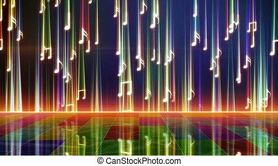 falling shiny notes and reflection loop
