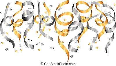 falling silver gold confetti