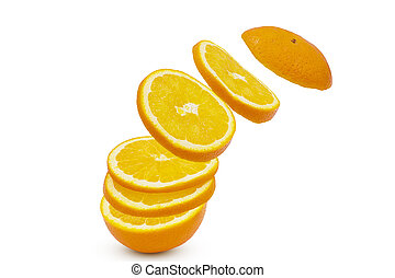 Falling sliced orange fruit isolated on white background with clipping path