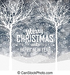Falling Snow. Christmas Background with Text