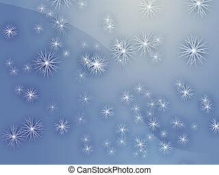 Falling snow, detailed crystalline snowlfakes abstract...