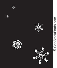 Falling Snow - Falling snow at night with flakes on a black...