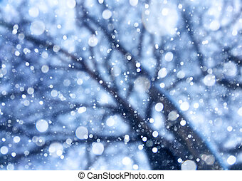 Falling snow from the sky under the trees.